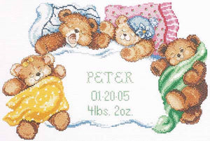 Down for a Nap Birth Sampler Cross Stitch Kit by Janlynn