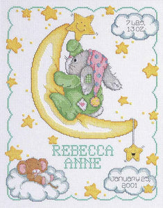 Crescent Moon Birth Sampler Cross Stitch Kit by Janlynn