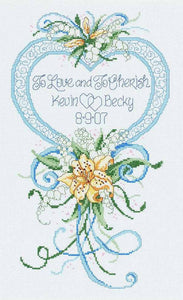 Cherish Wedding Heart Wedding Sampler Cross Stitch Kit by Janlynn
