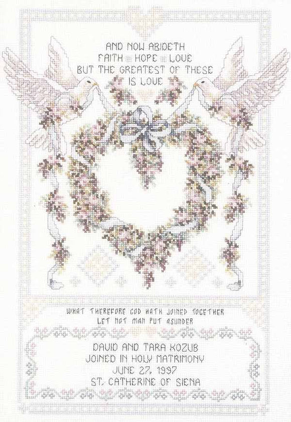 Wedding Doves Wedding Sampler Cross Stitch Kit by Janlynn