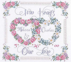 Two Hearts One Love Wedding Sampler Cross Stitch Kit by Janlynn