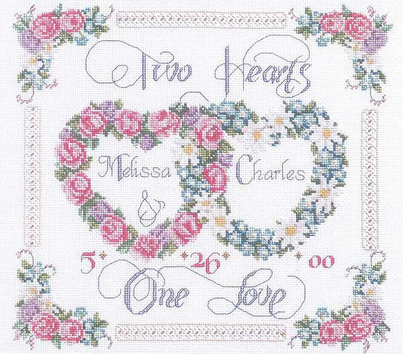 Two Hearts One Love Wedding Sampler Cross Stitch Kit By Janlynn Classy Cross Stitch Wedding Patterns