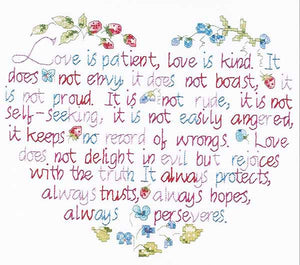 Love is Patient Sampler Printed Cross Stitch Kit by Janlynn