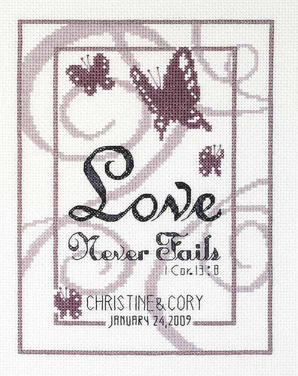 Love Never Fails Wedding Sampler Cross Stitch Kit by Janlynn