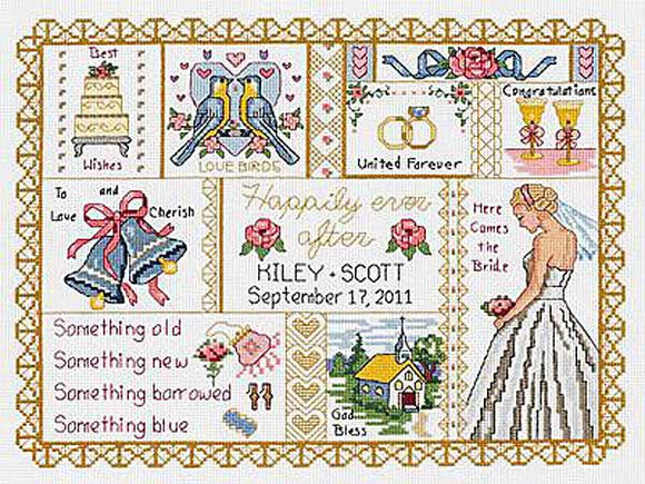 Wedding Collage Wedding Sampler Cross Stitch Kit by Janlynn