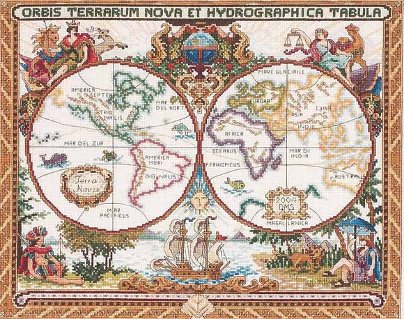 Olde World Map Cross Stitch Kit by Janlynn