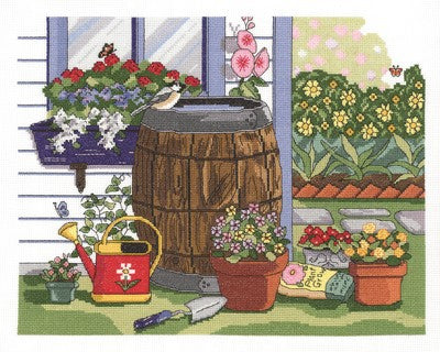 Rain Barrel and Window Box Cross Stitch Kit by Janlynn