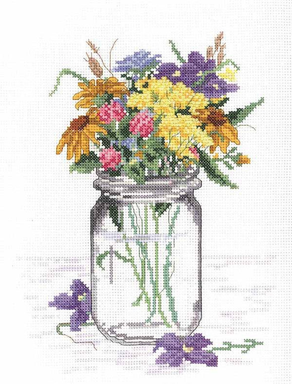 Wildflower Jar Cross Stitch Kit by Janlynn