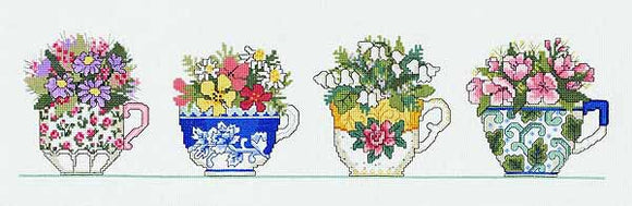 Row of Teacups Cross Stitch Kit by Janlynn