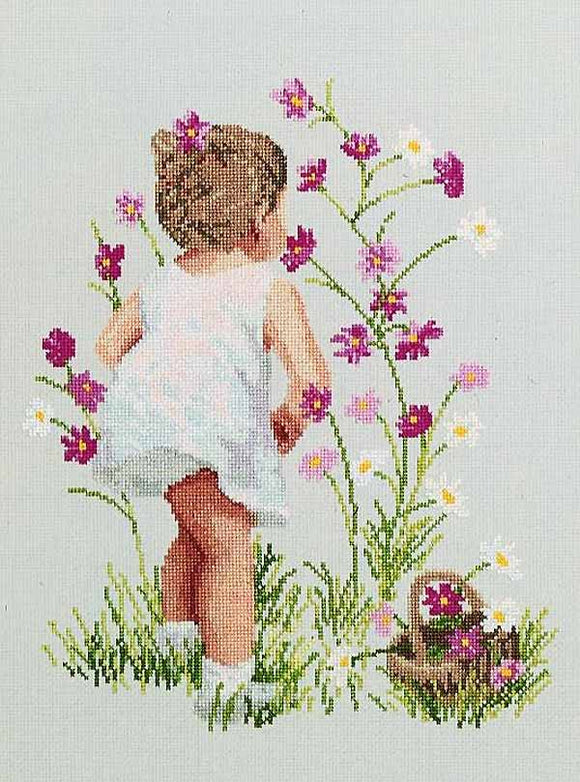 Girl with Cosmos Cross Stitch Kit by Janlynn