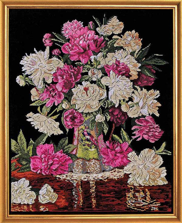 Peonies Vase Cross Stitch Kit by Design Works