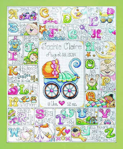 Baby ABC Birth Sampler Cross Stitch Kit by Design Works