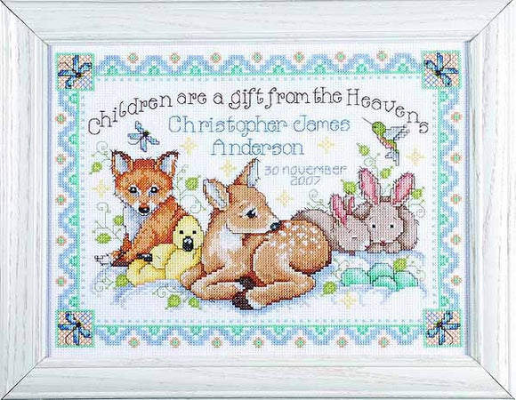 Woodland Baby Birth Sampler Cross Stitch Kit by Design Works
