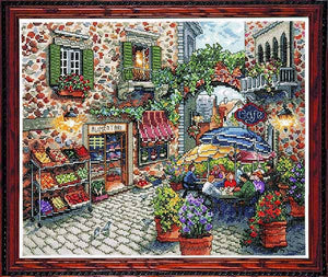 Sidewalk Cafe Cross Stitch Kit by Design Works