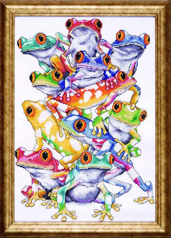 Frog Pile Cross Stitch Kit by Design Works