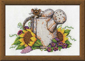 Watering Can Mouse Cross Stitch Kit by Design Works