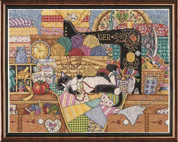 Kitty Sewing Lesson Cross Stitch Kit by Design Works