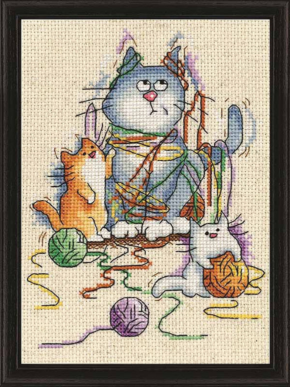 Heritage Crafts Chats et biscuits Counted Cross Stitch Kit Peter Underhill nouveau