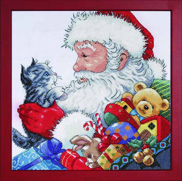 Santa with Kitten Cross Stitch Kit by Design Works
