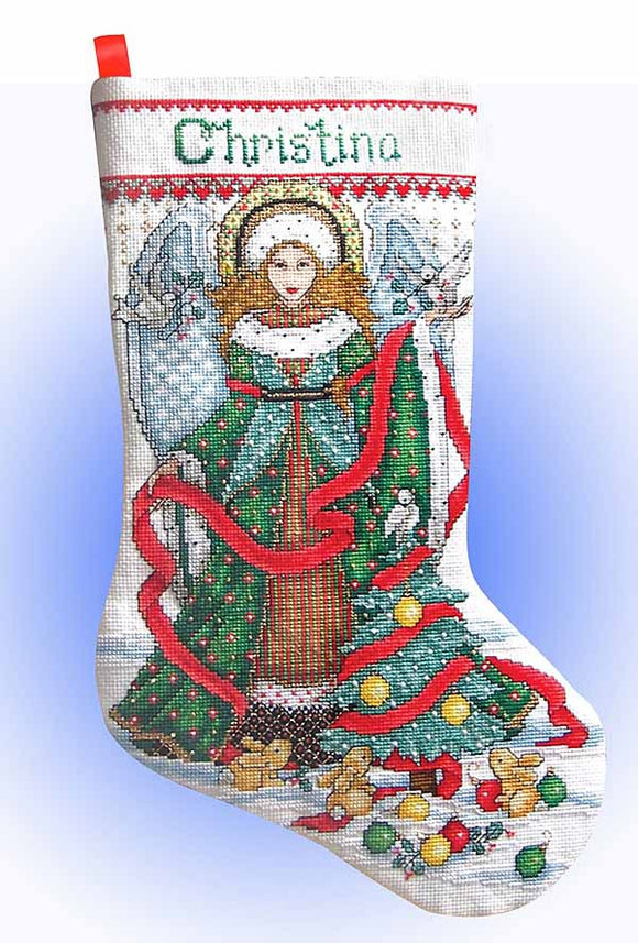 Christmas Angel Christmas Stocking Cross Stitch Kit by Design Works