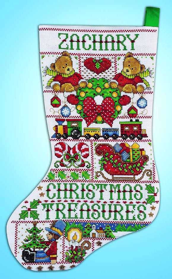 Stained Glass Christmas Stocking Cross Stitch Kit by Design Works