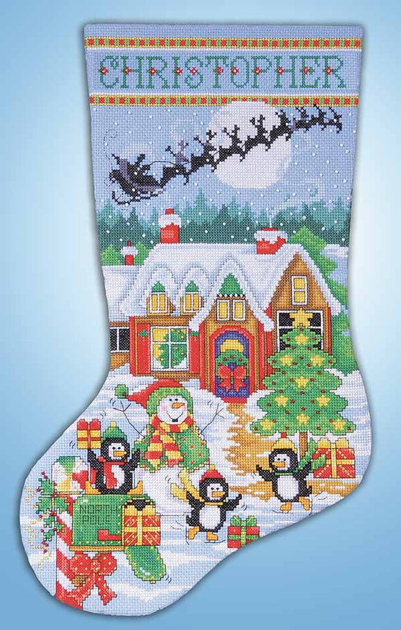 Penguin Party Christmas Stocking Cross Stitch Kit by Design Works