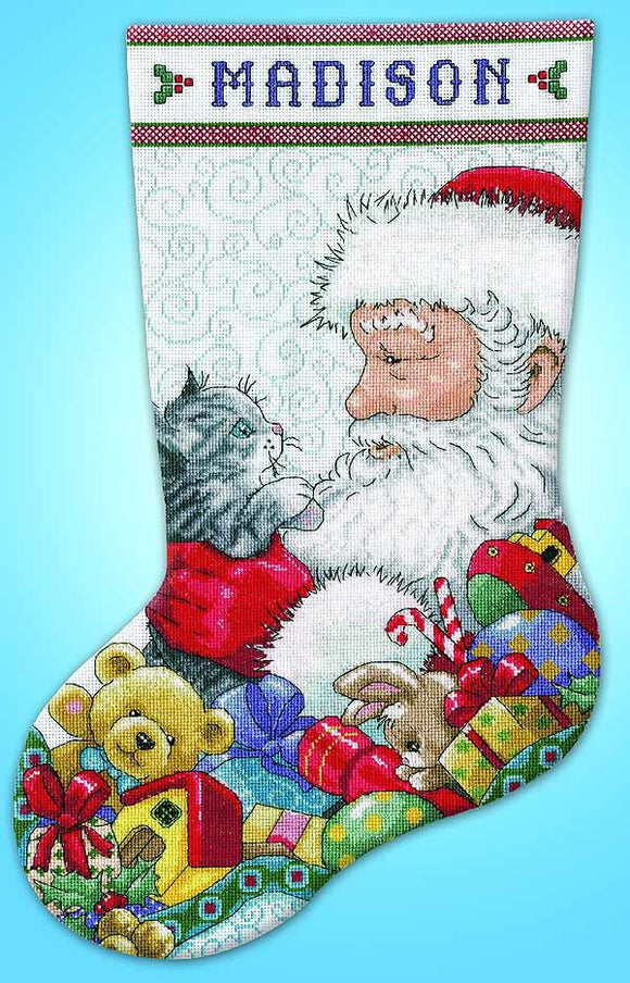 Santa with Kitten Christmas Stocking Cross Stitch Kit by Design Works