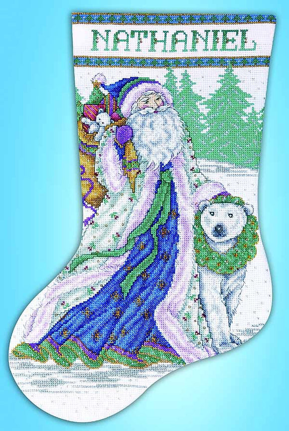 Santa and Polar Bear Christmas Stocking Cross Stitch Kit by Design Works
