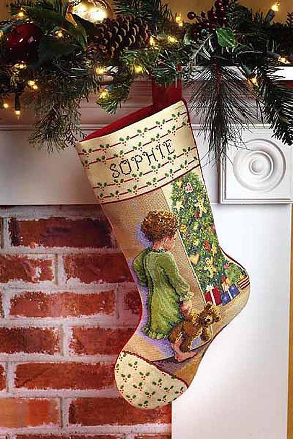 Christmas Morning Christmas Stocking Cross Stitch Kit by Janlynn