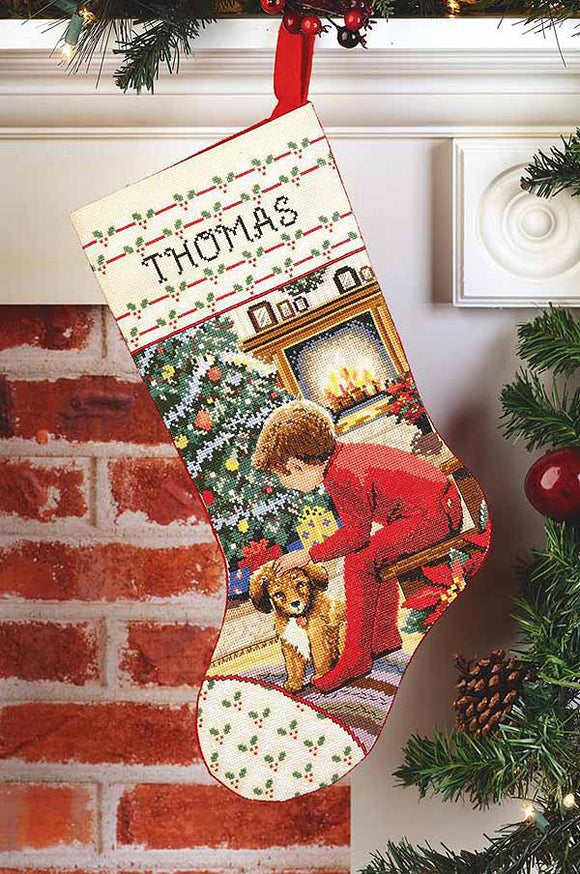 Waiting for Santa Christmas Stocking Cross Stitch Kit by Janlynn
