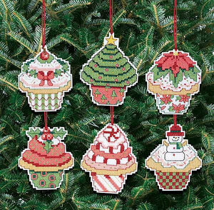Christmas Cupcake Ornaments Cross Stitch Kit by Janlynn