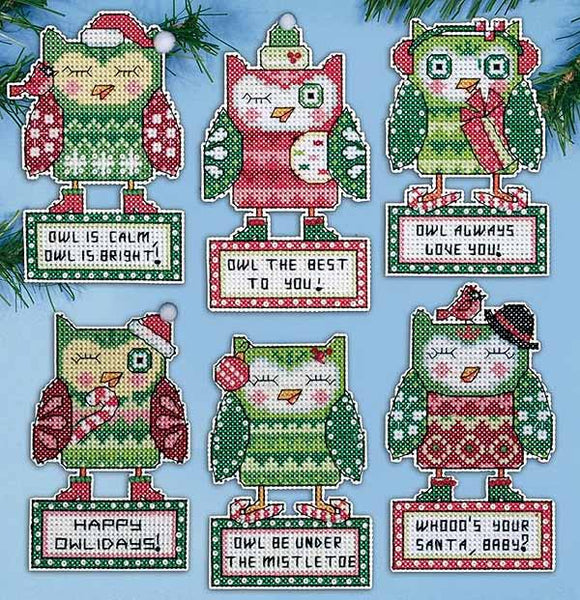 Happy Owlidays Ornaments Cross Stitch Kit by Design Works