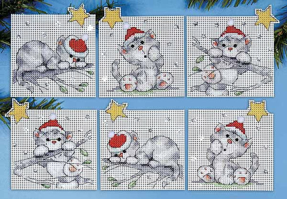 Christmas Cats Ornaments Cross Stitch Kit by Design Works