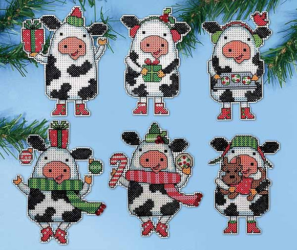 Christmas Cows Ornaments Cross Stitch Kit by Design Works
