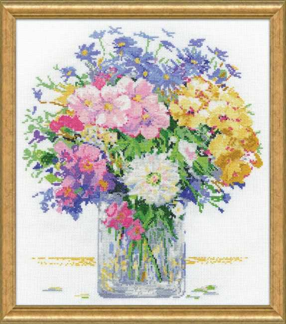 Pastel Floral Cross Stitch Kit by Design Works