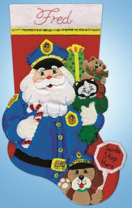 Policeman Santa Christmas Stocking Felt Applique Kit by Design Works