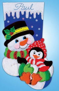 Snowman and Penguin Christmas Stocking Felt Applique Kit by Design Works