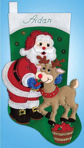 Santa and Reindeer Christmas Stocking Felt Applique Kit by Design Works
