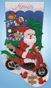 Scooter Santa Christmas Stocking Felt Applique Kit by Design Works