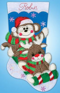 Sock Monkey Christmas Stocking Felt Applique Kit by Design Works