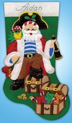 Pirate Santa Christmas Stocking Felt Applique Kit by Design Works