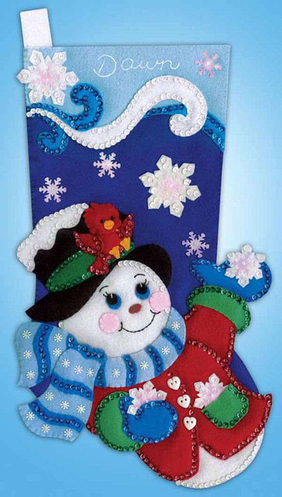 Snowflake Snowman Christmas Stocking Felt Applique Kit by Design Works