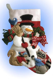 Snowman with Animals Christmas Stocking Felt Applique Kit by Design Works