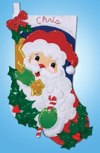 Holly Santa Christmas Stocking Felt Applique Kit by Design Works