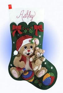 Playful Bears Christmas Stocking Felt Applique Kit by Design Works