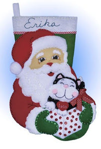 Santa and Kitten Christmas Stocking Felt Applique Kit by Design Works