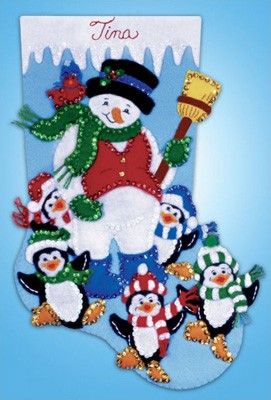 Penguin Party Christmas Stocking Felt Applique Kit by Design Works