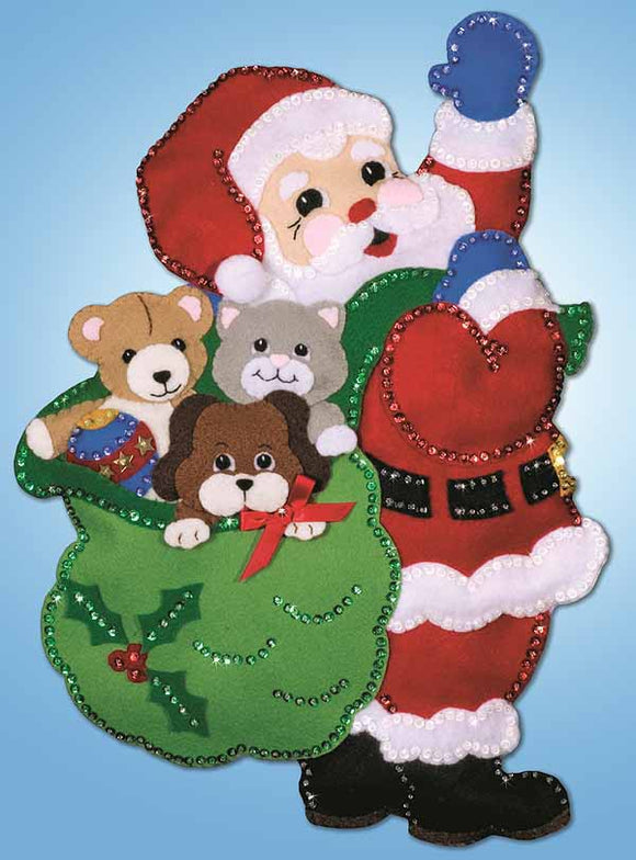 Santa Toys Wall Hanging Felt Applique Kit by Design Works