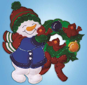 Snowman Wreath Wall Hanging Felt Applique Kit by Design Works