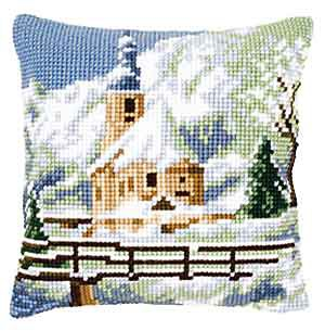 Alpine Church Printed Cross Stitch Cushion Kit by Vervaco